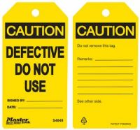 Caution Defective Do Not Use Safety Tags