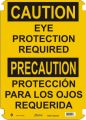 Bilingual Caution Sign: Eye Protection Required (English/Spanish)