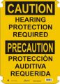 Bilingual Caution Sign: Hearing Protection Required (English/Spanish)