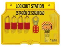 Aluminum 4 Lock Spanish/English Padlock Station