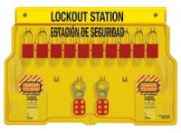 Aluminum 10 Lock Spanish/English Padlock Station