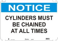 Notice Sign Cylinders Must Be Chained At All Times