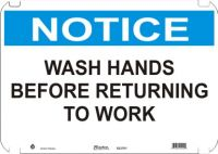Notice Sign Wash Hands Before Returning To Work