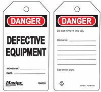 Danger Defective Equipment Safety Tags