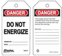 Danger Do Not Energize Safety Tags