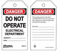 Danger Do Not Operate Electrical Department Safety Tags