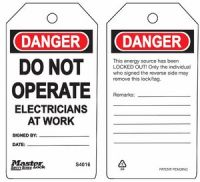 Danger Do Not Operate Electricians At Work Safety Tags