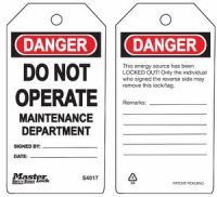Danger Do Not Operate MaIntenance Department Safety Tags
