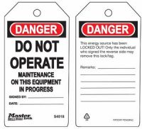 Danger Do Not Operate MaIntenance On This Equipment In Progress Safety Tags