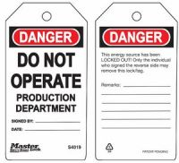 Danger Do Not Operate Production Department Safety Tags