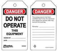 Danger Do Not Operate This Equipment Safety Tags