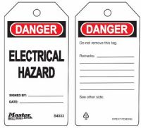 Danger Electrical Hazard Safety Tags