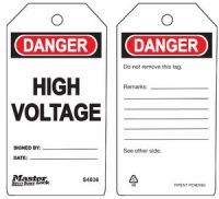 Danger High Voltage Safety Tags