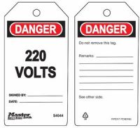 Danger 220 Volts Safety Tags