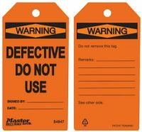 Warning Defective Do Not Use Safety Tags