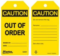 Caution Out of Order Safety Tags