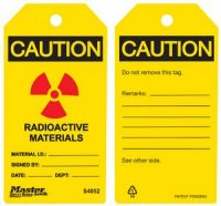 Caution Radiactive Materials Safety Tags
