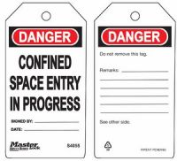 Danger Confined Space Entry In Progress Safety Tags